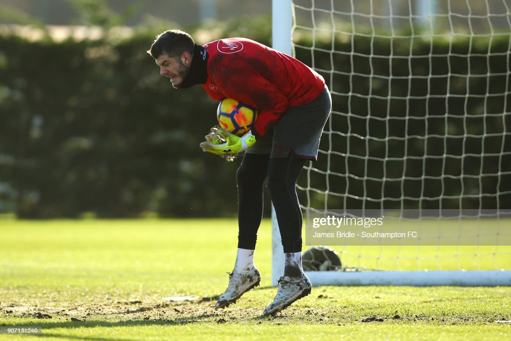 Fraser Forster during a Southampton FC training session at Staplewood Complex on January 19, 2018 in Southampton, England.