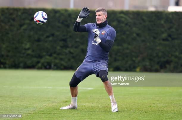 Fraser Forster during a Southampton FC training session at the Staplewood Campus on April 10, 2021 in Southampton, England.