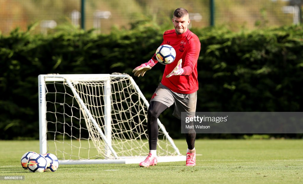 Fraser Forster during a Southampton FC training session at the Staplewood Campus on October 12, 2017 in Southampton, England.