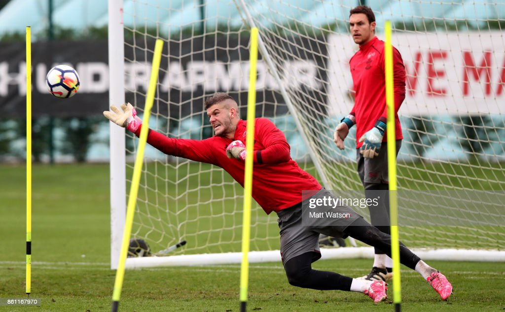 Fraser Forster during a Southampton FC training session at the Staplewood Campus on October 13, 2017 in Southampton, England.