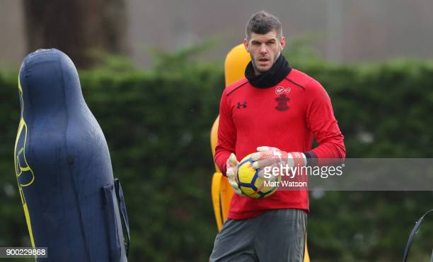 Fraser Forster during a Southampton FC training session at the Staplewood Campus on December 31 2017 in Southampton England