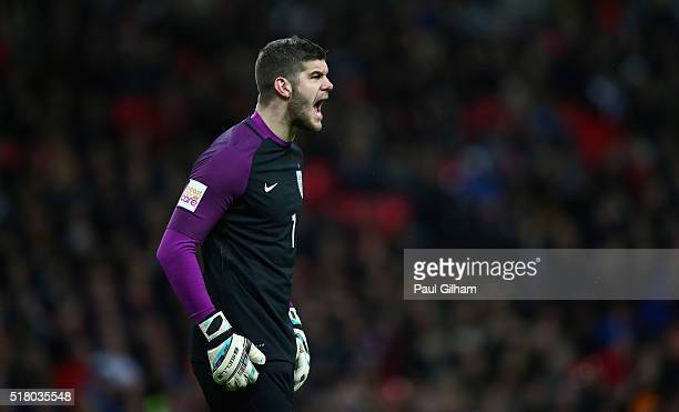 Fraser Forster goalkeeper of England in action during the International Friendly match between England and Netherlands at Wembley Stadium on March 29...