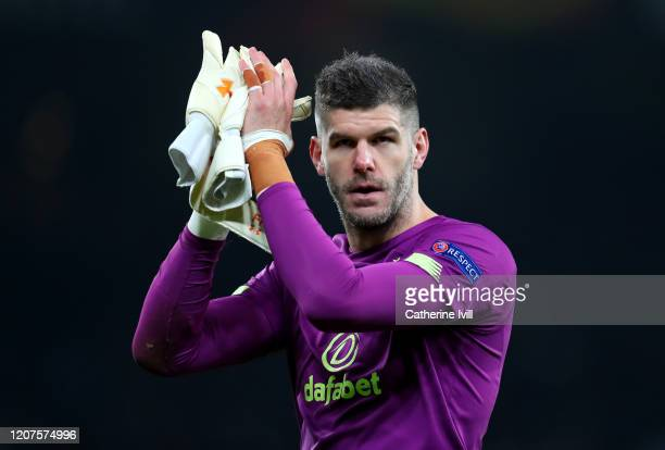Fraser Forster of Celtic applauds fans after the UEFA Europa League round of 32 first leg match between FC Kobenhavn and Celtic FC at Telia Parken on...
