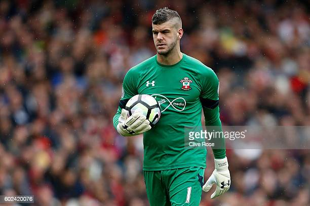 Fraser Forster of Southampton during the Premier League match between Arsenal and Southampton at Emirates Stadium on September 10 2016 in London...