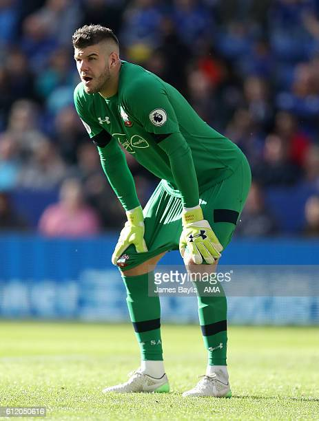 Fraser Forster of Southampton during the Premier League match between Leicester City and Southampton at The King Power Stadium on October 2 2016 in...