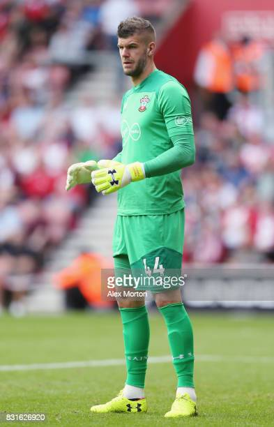 Fraser Forster of Southampton during the Premier League match between Southampton and Swansea City at St Mary's Stadium on August 12 2017 in...