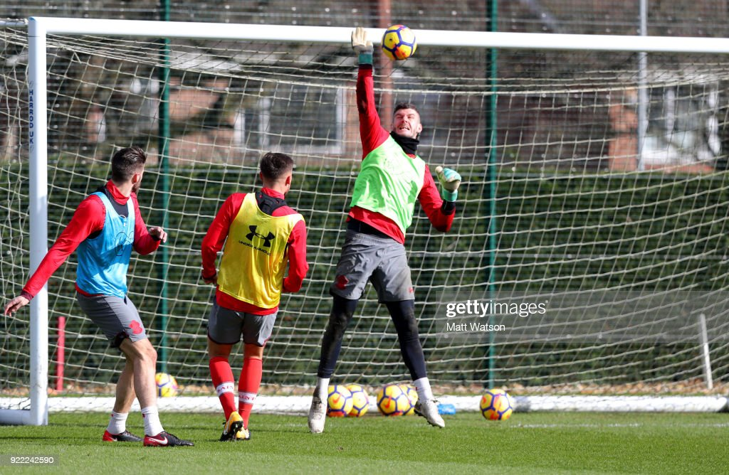 Fraser Forster of Southampton FC during a training session at the Staplewood Campus on February 20, 2018 in Southampton, England.