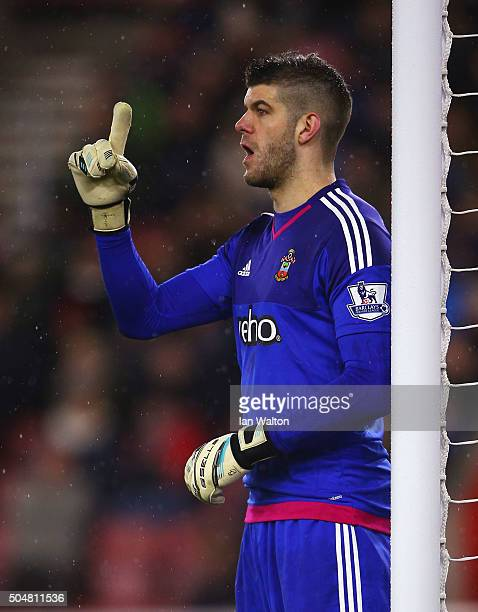 Fraser Forster of Southampton gestures during the Barclays Premier League match between Southampton and Watford at St Mary's Stadium on January 13...