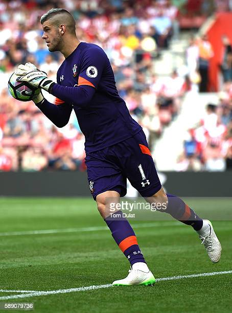 Fraser Forster of Southampton in action during the Premier League match between Southampton and Watford at St Mary's Stadium on August 13 2016 in...