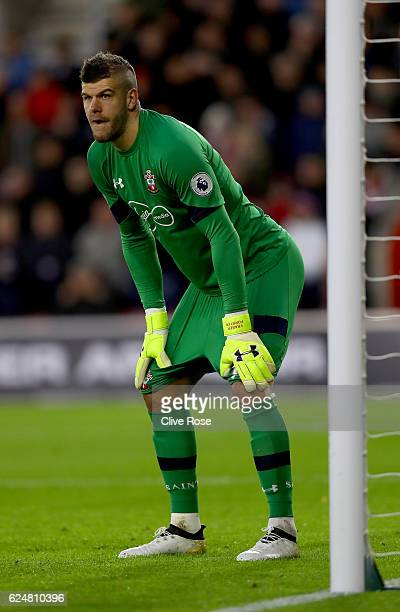 Fraser Forster of Southampton in action during the Premier League match between Southampton and Liverpool at St Mary's Stadium on November 19 2016 in...