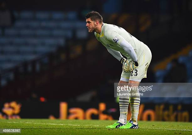 Fraser Forster of Southampton looks dejected after his error allows Gabriel Agbonlahor of Aston Villa to score their first goal during the Barclays...