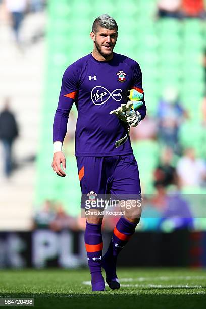 Fraser Forster of Southampton looks on during the friendly match between FC Groningen an FC Southampton at Euroborg Stadium on July 30 2016 in...