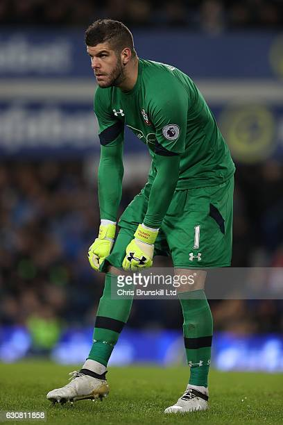 Fraser Forster of Southampton looks on during the Premier League match between Everton and Southampton at Goodison Park on January 2 2017 in...