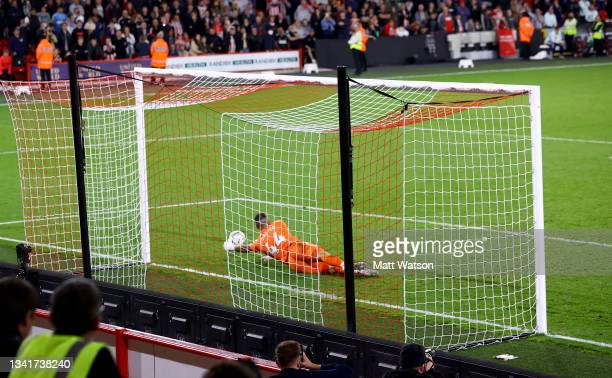 Fraser Forster of Southampton saves a penalty during the Carabao Cup Third Round match between Sheffield United and Southampton at Bramall Lane on...
