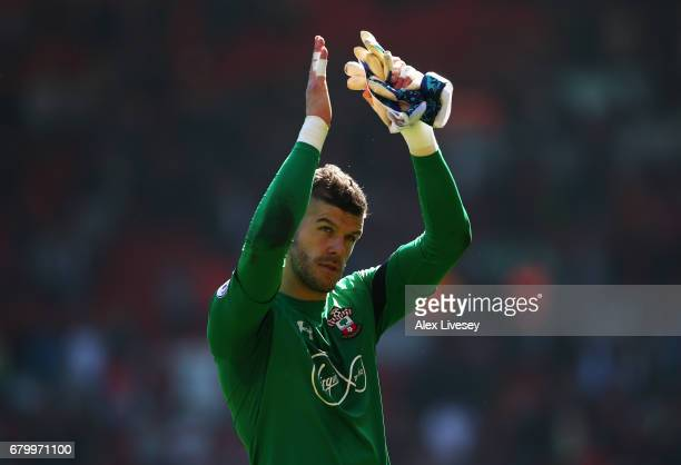 Fraser Forster of Southampton shows appreciation to the fans after the Premier League match between Liverpool and Southampton at Anfield on May 7...