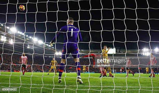 Fraser Forster of Southampton watches the ball as Dele Alli of Tottenham Hotspur scores their first and equalising goal during the Premier League...