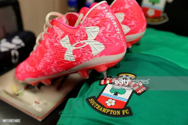 Fraser Forster's boots in the dressing room ahead of the Premier League match between Southampton and Newcastle United at St Mary's Stadium on...