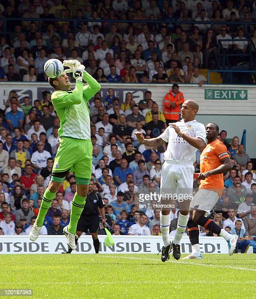 Fraser Foster drops a cross to gift Leeds Paul Kisnorbo the first goal during a Preseason friendly match between Leeds United and Newcastle United at...