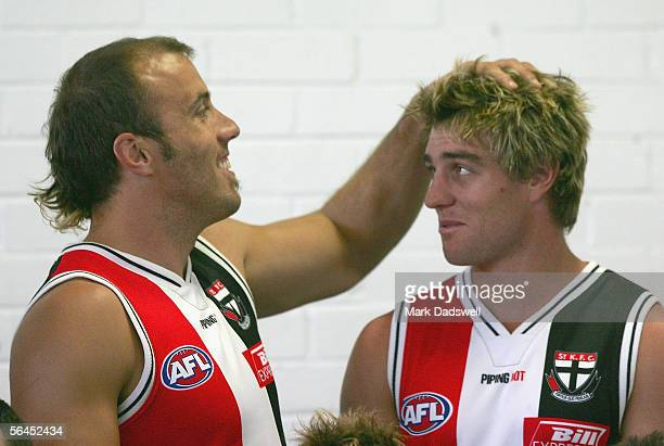 Fraser Gehrig and Sam Fisher of the Saints during the St Kilda team photo session at the Moorabin Ground December 19 2005 in Melbourne Australia