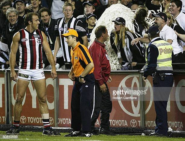 Fraser Gehrig of the Saints looks on as spectators yell abuse during the round eight AFL match between the St.Kilda Saints and the Collingwood...