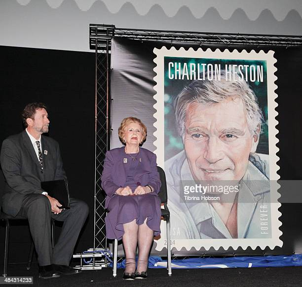 Fraser Heston and his mother Lydia Clarke attends the first-day-of-issue dedication ceremony for the Charlton Heston Forever Stamp at TCL Chinese...