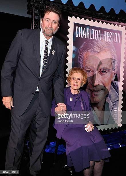 Fraser Heston and Lydia Heston attend the postage stamp ceremony during the 2014 TCM Classic Film Festival at TCL Chinese Theatre on April 11, 2014...