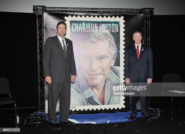 Fraser Heston and Mickey D Barnett attend the firstdayofissue dedication ceremony for the Charlton Heston Forever Stamp at TCL Chinese Theatre on...