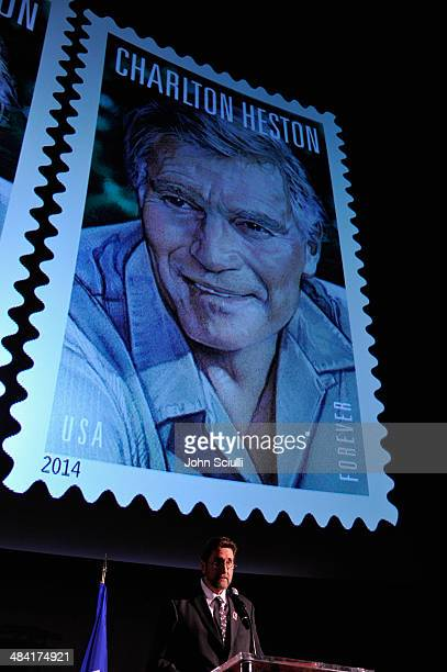 Fraser Heston speaking onstage during the postage stamp ceremony during the 2014 TCM Classic Film Festival at TCL Chinese Theatre on April 11, 2014...