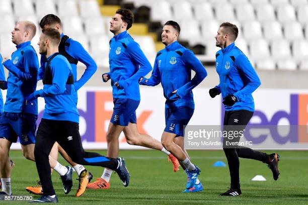 Fraser Hornby Kevin Mirallas and Morgan Schneiderlin during the Everton training session ahead of UEFA Europa League Group E match between Apollon...