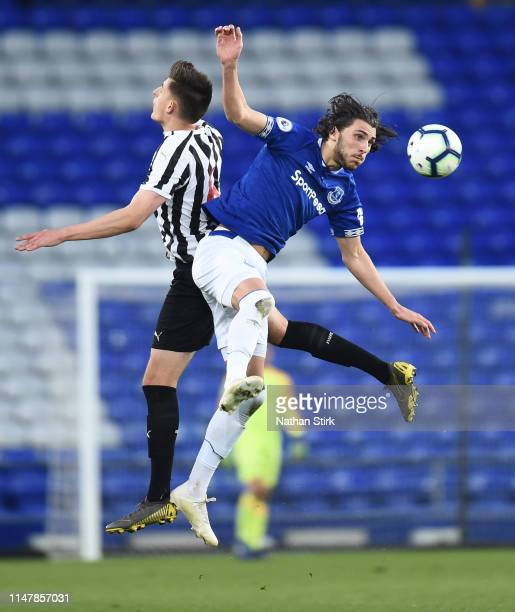 Fraser Hornby of Everton and Kelland Watts of Newcastle United compete for the ball during the Premier League Cup Final match between Everton and...