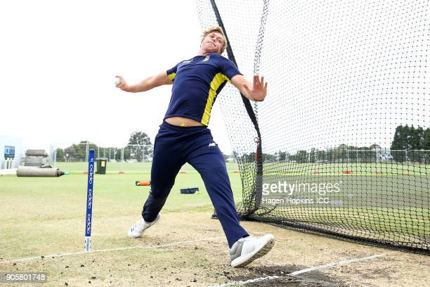 Fraser Jones of South Africa warms up in the nets during the ICC U19 Cricket World Cup match between the West Indies and South Africa at Bay Oval on...