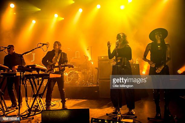 Fraser MacColl George Day Joshua LloydWatson Tom McFarland Rudi Salmon and Andro Cowperthwaite of Jungle perform on stage at Shepherds Bush Empire on...