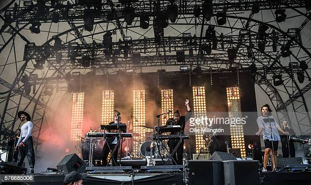 Fraser MacColl George Day Joshua LloydWatson Tom McFarland Rudi Salmon and Andro Cowperthwaite of Jungle perform onstage on Day 2 of Lovebox Festival...