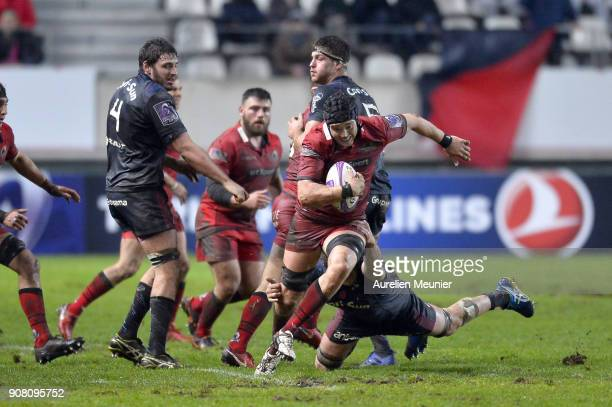 Fraser McKenzie of Edinburgh runs with the ball during the European Rugby Challenge Cup match between Stade Francais and Edinburgh at Stade JeanBouin...