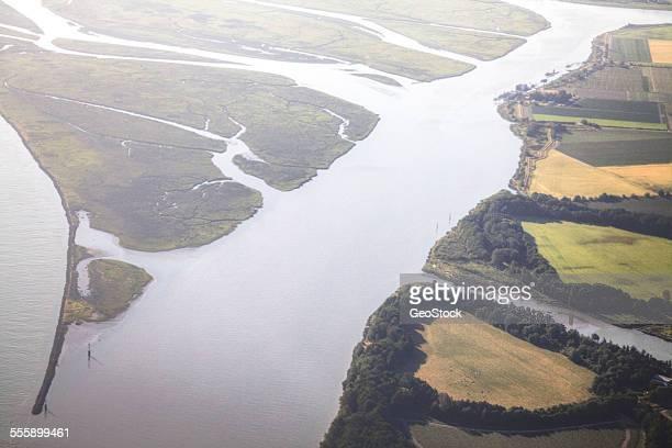 Fraser River delta, aerial view