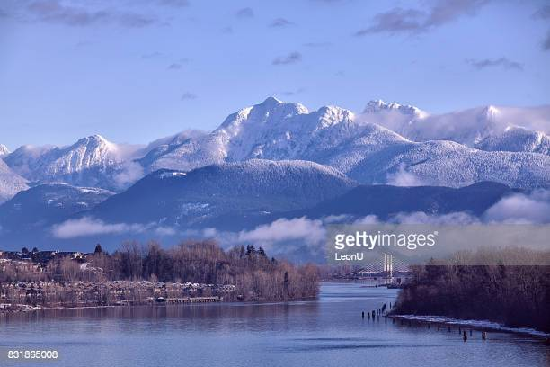 fraser river in winter, bc, canada - british columbia stock pictures, royalty-free photos & images