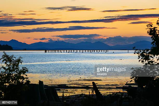 Fraser River View at Sunset in Richmond BC Canada