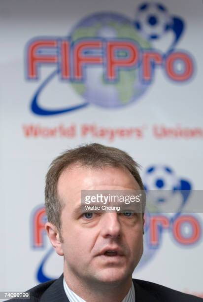 Fraser Wishart from the Scottish Professional Footballers' Asscociation attends a FIFPro press conference at Hampden Park for the decision made by...