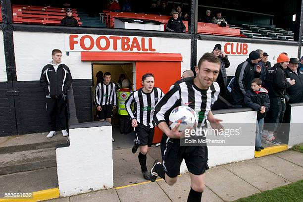 Fraserburgh players emerging from the dressing rooms below the main stand at Bellslea Park, prior to the club's Highland League fixture against...