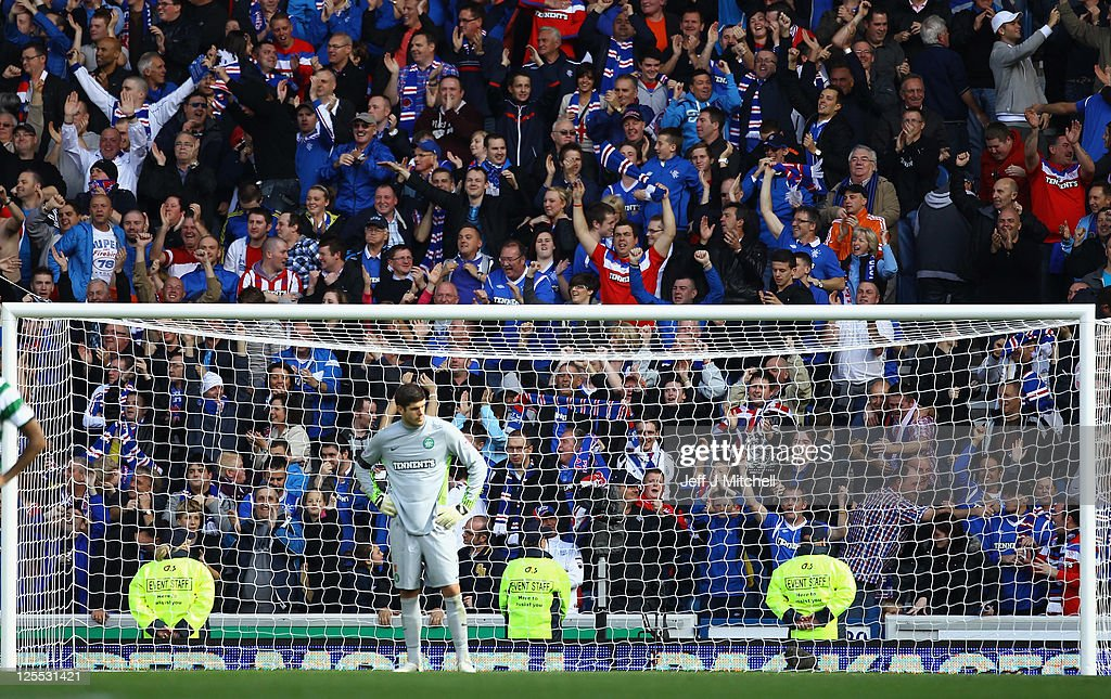 Frasrer Foster of Celtic looks dejected during the Clydesdale Bank Premier League match between Rangers and Celtic at Ibrox Stadium on September 18, 2011 in Glasgow, Scotland. .