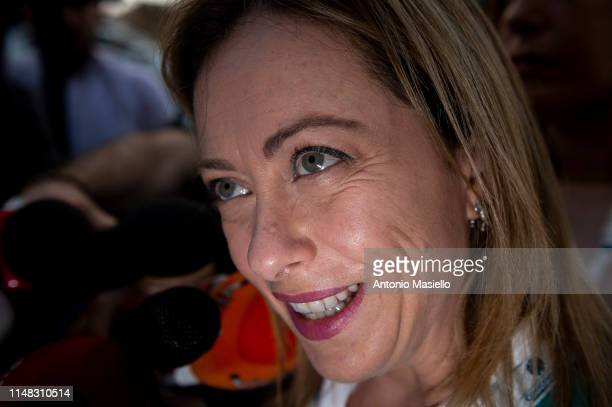 Fratelli d'Italia Leader Giorgia Meloni attends a national meeting of Confcommercio on June 6 2019 in Rome Italy