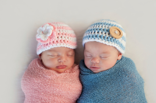 Fraternal Twin Baby Brother and Sister 474374621