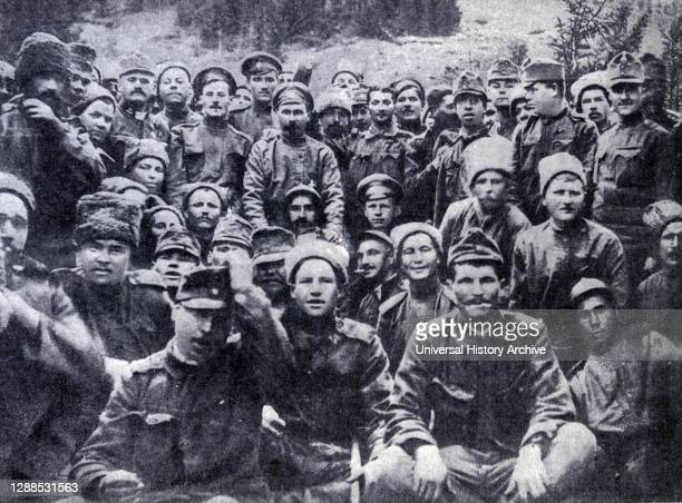 Fraternizing at the front between Russian, and Austrian soldiers. 1917.