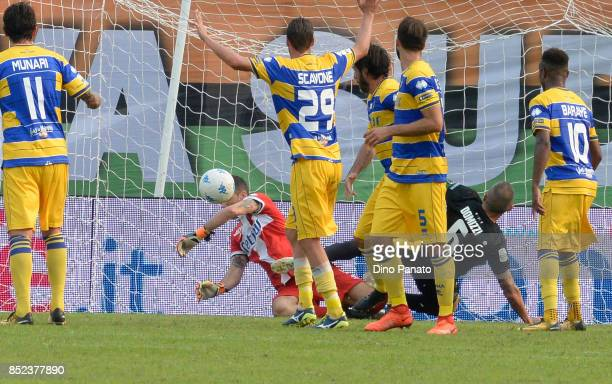Frattali of Parma saves during the Serie B match between Venezia FC and Parma Calcio on September 23 2017 in Venice Italy