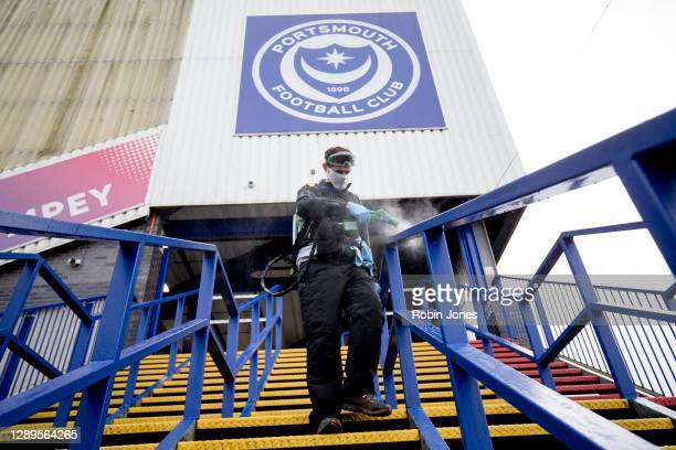 Fratton Park is disenfected for the arrival of fans since National Lockdown in March began before the Sky Bet League One match between Portsmouth and...
