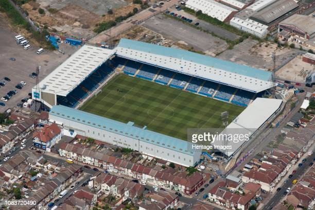 Fratton Park, Portsmouth, Hampshire, 2014. Aerial view of the home of Portsmouth Football Club. Artist Historic England Staff Photographer.