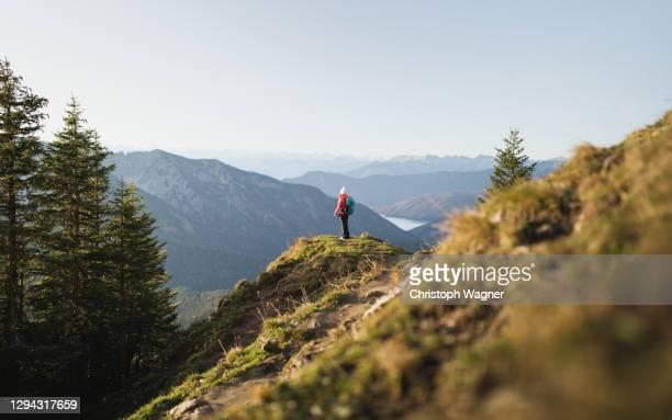 frau in den bergen beim wandern - frau fotografías e imágenes de stock