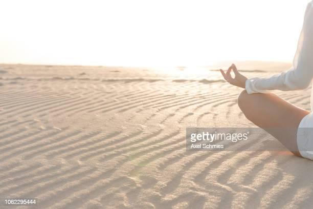 frau von hinten im meditationssitz auf sandigem boden, hände in mudra auf knie - frau photos et images de collection