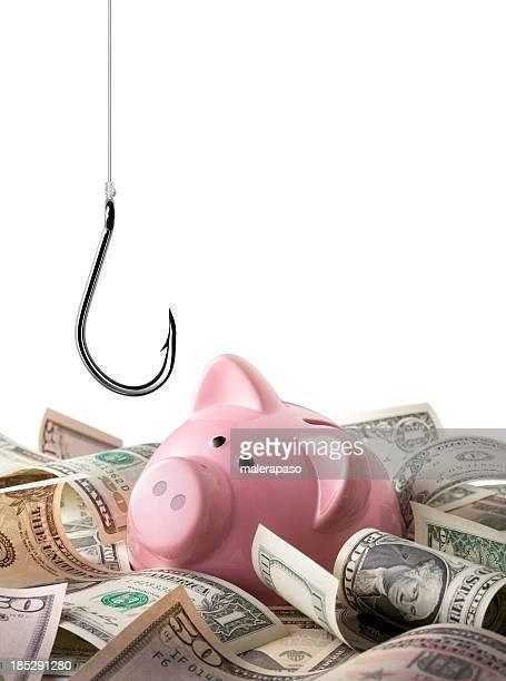 betrug. fish hakenverschluss, droht dem speichern. - tax fraud stock-fotos und bilder