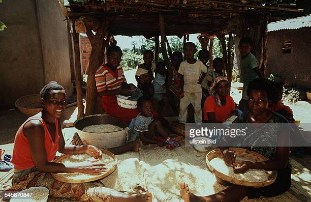 Frauen bei der Vorbereitung des Essens imInnenhof eines Hauses 00031995